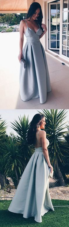 simple blue satin long prom dresses, elegant party dresses with pleats, fashion backless formal dresses #longpromdresses