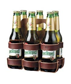 guy gifting... Leather Six-Pack Holder #gifts