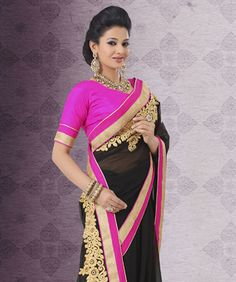 Black Satin Georgette Saree
