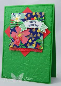 handmade birthday card by Nicole Wilson  .... luv the bright green background with embossing folder textures ... square of patterned paper as focal point ... like the montage/medallion ... Stampin' Up!