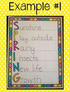 Spring Acrostic Poem Template {FREE!} - TheHappyTeacher - TeachersPayTeachers.com