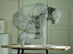 Transparent Figurative Sculptures Made from Metallic Wire Mesh by Edoardo Tresoldi