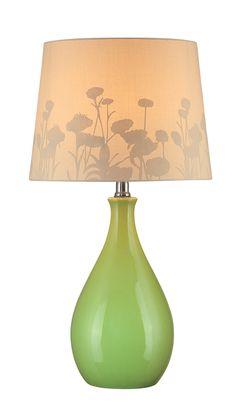 Table Lamp, Green Ceramic Body/silhouette Paper, E27 Cfl 13w