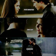 "#TVD The Vampire Diaries Elena & Damon ""Five minutes, one day, forever"""