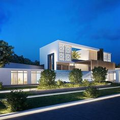 Modern Villa design in Rabat, Morocco. Designed for a Saudi Client whose breif was clearly to mix between local Moroccan and modern design. Modern Villa Design, Contemporary Design, Contemporary Buildings, Residential Architecture, Modern Architecture, Best Build, Facade Design, Maine House, Home Interior Design