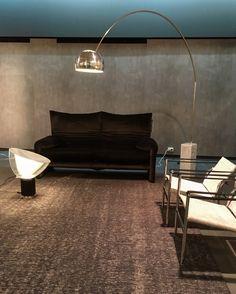 Cassina Maralunga Sofa (Vico Magistretti, 1973) & LC1 Chairs (Le Corbusier, Charlotte Perriand & Pierre Jeanneret, 1928) in combination with Flos Lights Arco & Taccia (Achille & Pier Giacomo Castiglioni, 1962)