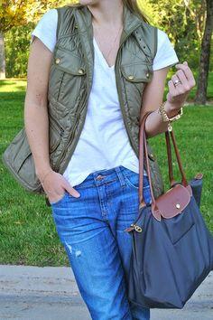 Ralph Lauren Vest + Joe's Jeans + J.Crew Heels + Longchamp Bag + Michael Kors Watch