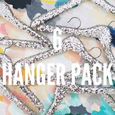 Multiple Sequin Fancy Hangers - 6 pack in silver | Wedding Dress Hanger. Boutique Hanger. Bridal Party Hangers. Bridal Party Gifts.