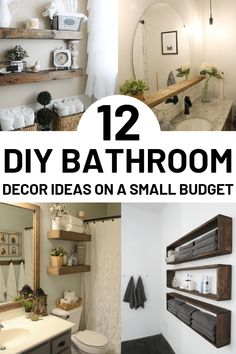 12 DIY Bathroom Decor Ideas On a Budget You Can't Afford to Miss Out On. DIY Projects For Bathroom Using Mason Jars and Cheap Dollar Stores items. These DIY bathroom decor ideas are perfect for small spaces and counter tops. Simple tips Diy Bathroom Remodel, Diy Bathroom Decor, Bathroom Renovations, Small Bathroom, Home Remodeling, Bathroom Ideas, Bathroom Laundry, Neutral Bathroom, Bathroom Makeovers