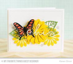Handmade card from Karen Giron featuring the Flutter of Butterflies - Lace Die-namics.