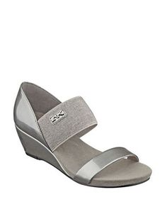 Anne Klein Cailina Two Band Wedge Sandals Women's Grey 7M