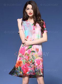 Dresses - $42.66 - Polyester Floral Short Sleeve Above Knee Vintage Dresses (1955104128)
