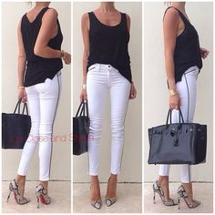 Up Close and Stylish @upcloseandstylish Instagram photos | Webstagram upcloseandstylish Last night - #Myline tank top, #J_Brand jeans, #Louboutin heels and #Hermès #Birkin 35 in So black. (22 April 2013)