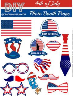 4th of July Photo Booth Props http://www.kidscanhavefun.com/photo-booth-props.htm #4thofjuly #photobooth #props