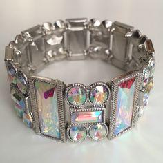 Bracelet Silver tone metal stretch and AB Crystal bracelet. Jewelry Bracelets