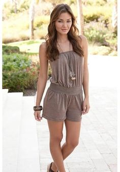 Love this!! -STRAPLESS JERSEY ROMPER
