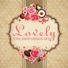 Etsy Branding 9 Piece Etsy Shop Banner Set Lovely by ChocoDesign