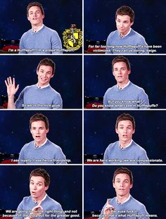 When he made a PSA sticking up for mistreated Hufflepuffs across the globe. | 23 Times Eddie Redmayne Was A Gift We Didn't Deserve