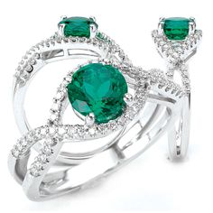 18K Chatham lab-created 6.5mm round emerald engagement ring with natural diamonds