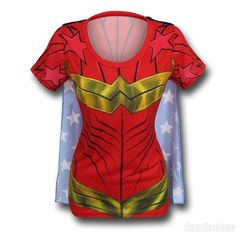 Wonder Woman Sublimated Caped Women's T-Shirt Woman T-shirts wonder woman t shirt transfer Wonder Woman Shirt, Geek Chic Fashion, T Shirt Transfers, Tees For Women, Cool Costumes, Woman Costumes, Fitness Fashion, Shirt Style, My Style