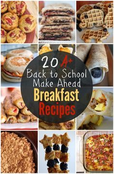 20 + Make Ahead Breakfast Recipes - perfect for busy, back to school mornings! #recipes #breakfast #foodie