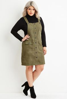 Plus Size Cargo Overall Dress... not big on the whole outfit, but find the overalls cute