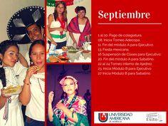 Calendario de septiembre de los sistemas ejecutivo y sabatino.