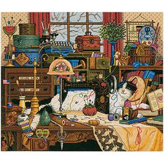 "Dimensions Gold Collection ""Maggie the Messmaker"" Counted Cross Stitch Kit, 14"" x 12"""