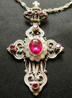 Priest Pectoral Cross w Rubies 925 Silver Vintage from Jerusalem