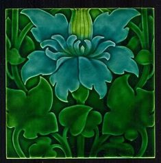 Climbing Clematis Art Nouveau Tile, L.F. Day, Pilkington Tile