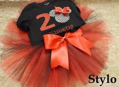 Minnie Mouse tutu order or follow us on Facebook ; www.facebook.com/... #minniemouse #birthday #redandblacktutu #styloboutique