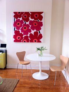 Marimekko fabric stretched as art