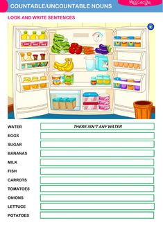 Countable and uncontable nouns Interactive worksheets Teaching English Grammar, Grammar Lessons, English Vocabulary, Nouns Worksheet, Worksheets, English Lessons, Learn English, Nouns Exercises, Esl Learning