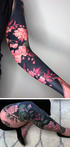 Delicate Flowers Blossom From Inky Black Backgrounds in Esther Garcia's Stylized Botanical Ta. - Delicate Flowers Blossom From Inky Black Backgrounds in Esther Garcia's Stylized Botanical Tattoo - Esther Garcia, Tribal Tattoos, Leg Tattoos, Body Art Tattoos, Full Body Tattoo, Polynesian Tattoos, Fake Tattoos, Blackout Tattoo, Botanisches Tattoo