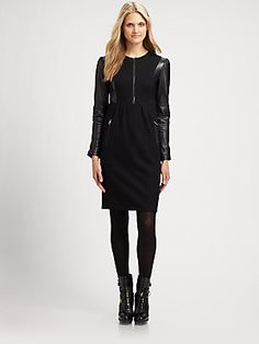 Burberry Brit Wool/Leather Dress love this! $795