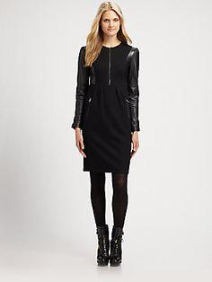 #punk #chic anyone? - #Burberry Brit Wool/Leather Dress