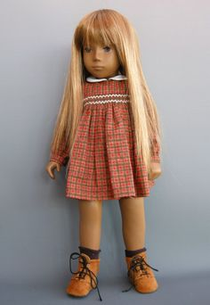 Smocked plaid dress with ankle boots - very cute! Customized Girl, Sasha Doll, Vintage Dolls, Vintage Sewing, Origami Fashion, American Girl Clothes, Fashion Dolls, Fashion Fashion, Doll Shoes