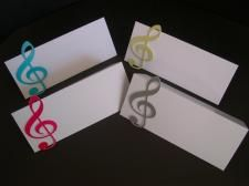 Musical note place cards are ideal for a musical themed party or wedding.
