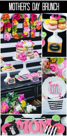 Mother's Day Brunch, Black and White, Floral MOM letters