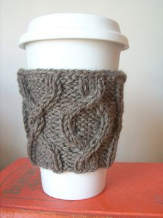 This little coffee cozy is a perfect way to save cardboard sleeves at the coffee shop while using up those leftover bits of worsted that are too big to toss but too small to use for much.