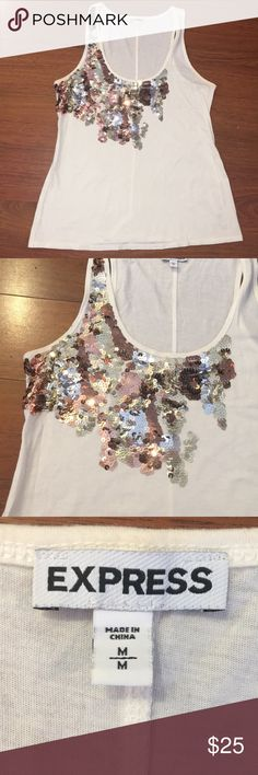 Express Sequined tank Sequined tank by Express has gold silver and bronze sequin detailing on the front of the shirt.   Size M  Free gift with purchase! Tops Tank Tops