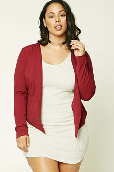 Forever 21+ - A knit blazer featuring a high back and a low front, an open front, front welt pockets, style lines, and long sleeves.