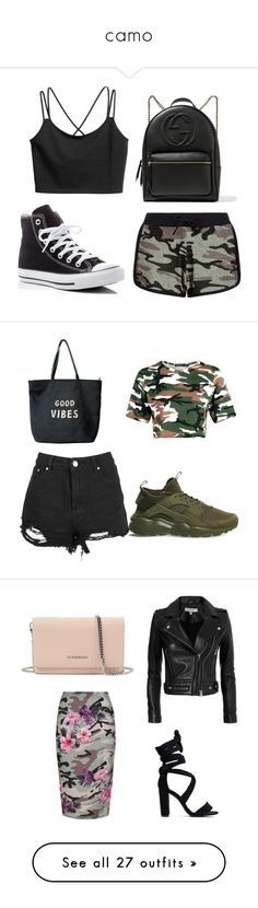 """""""camo"""" by jataejaherring ❤ liked on Polyvore featuring New Look, Converse, Gucci, NIKE, Venus, IRO, Givenchy, Topshop, Ultracor and Forever 21"""