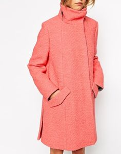 ASOS Swing Coat With Funnel Neck In Textured Wool