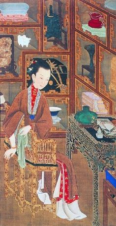 """Chinese paintings from Qing Dynasty (1644-1912) of some ancient """"beauties"""" in their daily livings"""