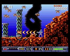 Turrican II, developed by Factor 5, published by Rainbow Arts. One of the best Amiga games ever, i.m.h.o..