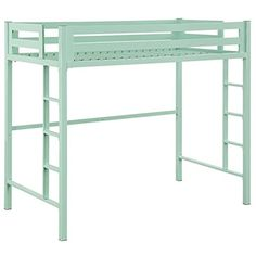 cool WE Furniture Premium Twin Metal Loft Bed, Mint
