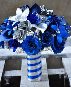 Silver Blue Starry Starry Night Wedding Bouquet... This is beautiful