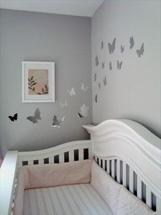 I have these butterflies on a small section of my room walls, but I like how they go through two walls in this nursery.