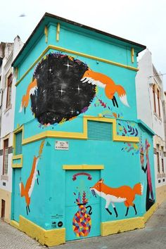 """Urban intervention for the Fusing Culture Experience Festival at Figueira da Foz with the special support of Wool. """"Kitsune Portal"""" around. Portugal, Street Art, Urban Intervention, Earthship, Sand Art, Halloween Night, Timeline Photos, Spirit Animal, Art And Architecture"""